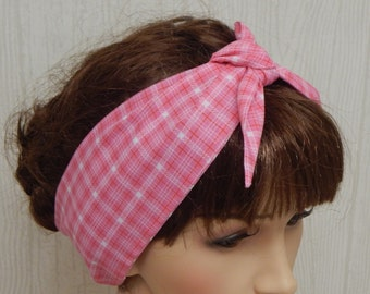Tie Up Cotton Headband, Self Tie Pink and White Head Scarf, Rockabilly Hair Scarf, Tartan Print 50's Hair Scarf, Retro Hairband Bandana