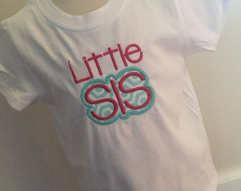 Little sister shirt, embroidered, applique