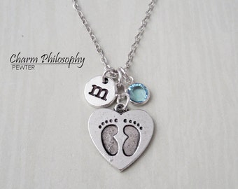 Baby Feet Necklace - New Mom Gift - New Baby Jewelry - Monogram Personalized Initial and Birthstone - Baby Shower Gift