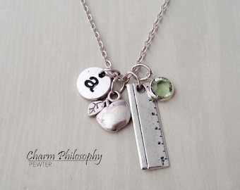 Teacher Necklace - Ruler Charm - Apple Charm - Antique Silver Jewelry - Monogram Personalized Initial and Birthstone
