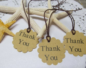 Handcrafted Thank You Gift Tags - Kraft Tags - Scallop Edge - Favor Tag - Price Tag - Wedding Favor - Bridal Gifts - Shower Gifts