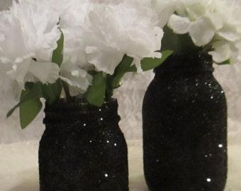 Steampunk Glitter Mason Jar ~  Wedding Birthday Baby Shower ~  Centerpiece for Dinner Party Decoration ~ Pick Your Size  ~ Hostess Gift