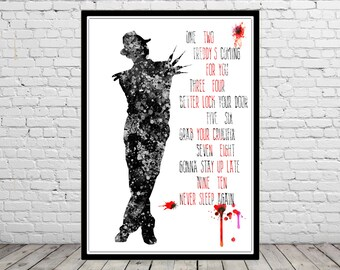 Freddy Krueger inspired, watercolor Freddy Krueger, Freddy Krueger quote, poster, Nightmare on Elm Street, Horror,  Wall Art (1045b)