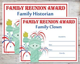 Family Reunion Awards Certificates Parties
