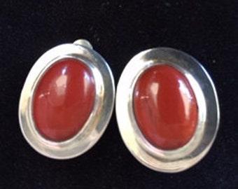 Red Jasper and Sterling Silver Earrings