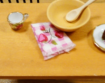 1:12 Miniature Tea Towel Dish Rag Dollhouse Kitchen Checked Mini Dolls House Pantry Cottage Chic Shabby Country Strawberry Pink Gingham