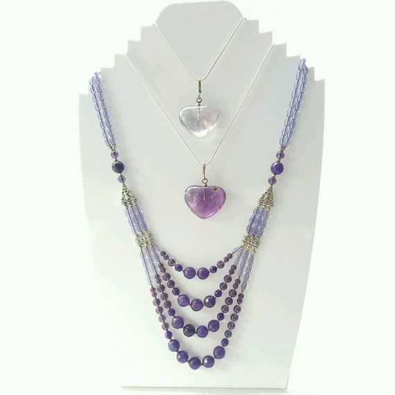 amethyst bead necklace necklace layered by