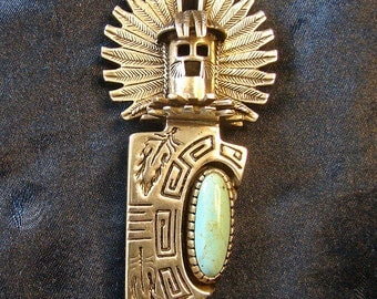 Gorgeous Kachina pin or pendent Silver and Turquoise