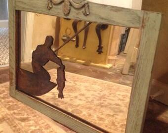 Vintage Mirror with Fisherman Design, Mirror, Vintage Mirror, Fishing Decor, Wall Mirror, Mirror with Fishing Design