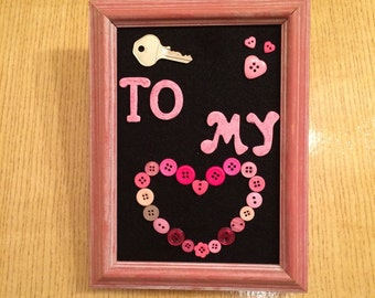 Key to My Heart Button Picture Frame