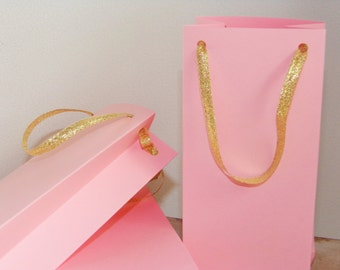 """Pink and Gold favor bag, 8 SMALL paper bags -  7 1/4 """" X 3 1/4"""" X 2"""" - goodie bag, pink gift bag, gold gift bag,  first birthday, party"""