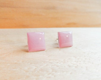 Deco Pink Square Stud Earrings