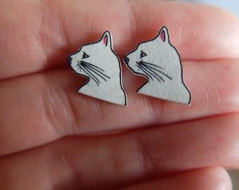 Cat Face Stud Earrings