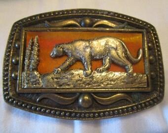 Mountain Lion Belt Buckle, Panther, Big Cat, Cougar, Brass