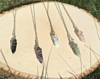 Crystal Necklaces Sterling Chain Boho Hippie Jewelry Summer Jewelry Opalite Necklace Amethyst Jewellery Bohemian Black Onyx Rose Quartz