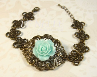 30% OFF - FREE Gift Pouch - Mint Flower Antique Bronze Filigree Bracelet - Vintage Bracelet - Unique Bracelet - Bracelet for Her (BA028)