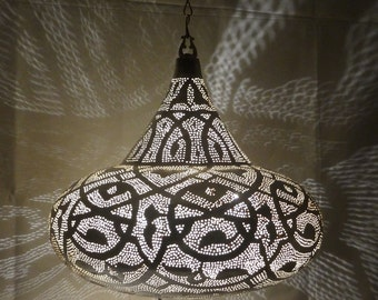 UFO Handmade Hanging Light & Shadow Chandelier Metal Silver Color