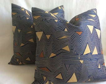 Mod Designer Pillow Cover Set - Black/Gold/ Bronze - 20x20 Triangle Design