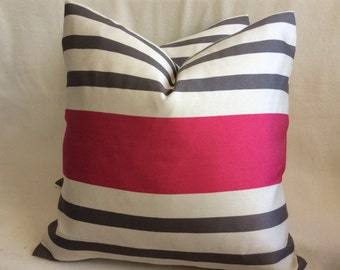 Minimalist Designer Pillow Cover Set - White/ Gray/ Hot Pink Stripe - 18x18 Covers