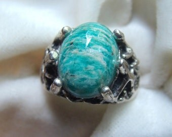 Men's Amazonite Ring and Tie Tack Combo in Sterling Silver