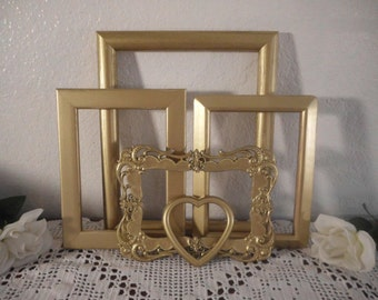 Gold Picture Frame Set Up Cycled Vintage Photo Decoration Romantic Rustic Shabby Chic Distressed Christmas Holiday Home Decor Elegant Gift
