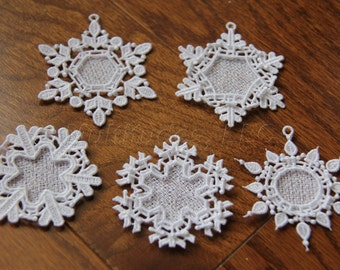 Set of 5 Embroidered Lace Snowflake Ornaments