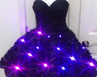 Black LED dress, short in the front, long in the back, roses