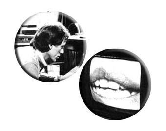 Videodrome (1983) handmade film / movie badge [James Woods, Debbie Harry, David Cronenberg]
