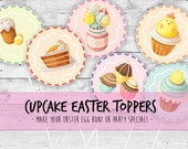 Happy Easter Cupcake Toppers Easter Brunch Easter Egg Hunt Easter Bunny Cupcake Toppers Easter Party Printable Instant Download