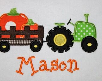 Boys Pumpkin Tractor Applique Shirt, Boys Fall Applique Shirt, Boys Halloween Applique Shirt, Boys Thanksgiving Shirt, Boys Tractor Shirt