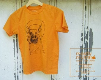 Youth - Crew Neck Tshirt - 60/40 Blend, T-Shirt with Pig Illustration