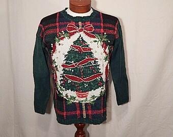 SALE 50% Off UGLY CHRISTMAS SWEATEr Medium M O! Christmas Tree! Green