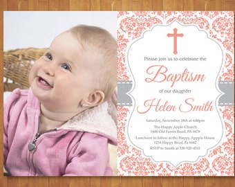 Baptism Invitation Girl with Photo. First Communion. Christening. Child Dedication. Purple and Gray Damask. Coral Invite. Printable Digital.