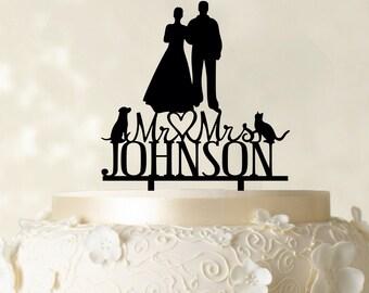 Custom Cake Topper , Mr and Mrs Cake Topper, Wedding Cake Topper, Couple Silhouette Topper With Pets, Glitter Cake Topper CATO80