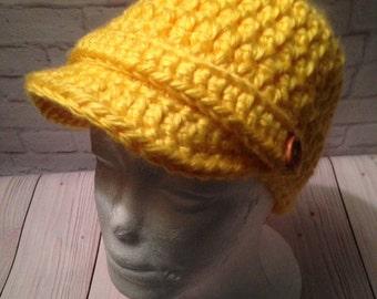 Crochet Newsboy Hat - Newsboy Cap - Baseball Hat - Newsboy Hat -News Boy Hat - Yellow Hat - Birthday Gift - Warm Hat