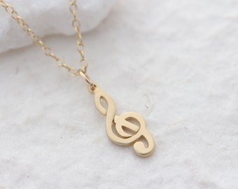 Gold treble clef necklace, gold plated treble clef choose Gold filled chain, gold g-clef necklace, gold treble clef musician necklace