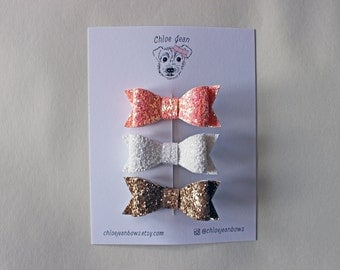 The Harper Mini Glitter Bow Clip | toddler hair clips | baby hair clips | glitter bow clips | glitter hair bows | mini hair bows | sparkly