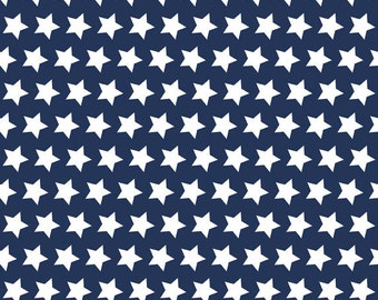 Navy Stars Basic by Riley Blake Designs - Navy Blue Star White Patriotic - Quilting Cotton Fabric - by the yard fat quarter half