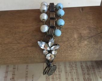 Out on the town - unique assemblage bracelet- vintage
