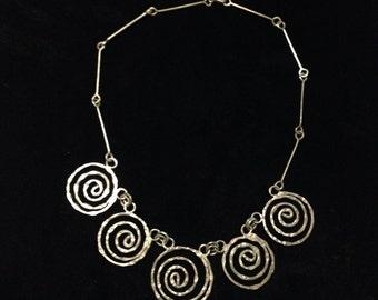 Vintage Silvertone Spiral Metal Necklace Arts & Crafts