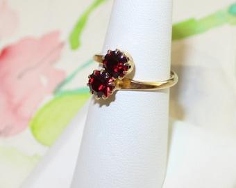 Vintage Ruby Red, Rhinestone, Adjustable Ring