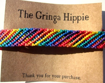 Rainbow Striped Woven Friendship Bracelet Rainbow Macrame Rainbow Friendship Bracelet