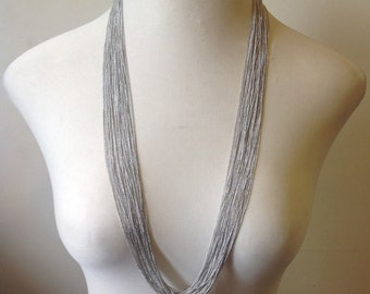 Silky multi strand long necklace