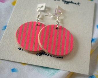 Hot Pink Striped Earrings