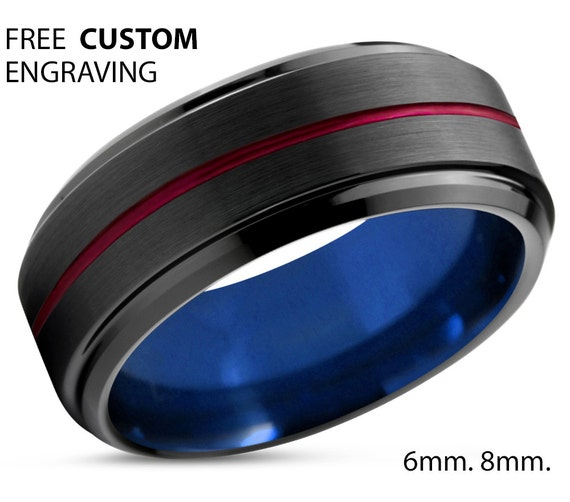 Tungsten Ring Mens Blue Black Red Wedding Band By