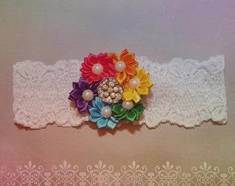 Rainbow Wedding Garter,Rainbow Garter,Rainbow Bridal Garter,Rainbow Lace Garter,Wedding Garters,Made to Order Garter,Plus size Garter,Garter
