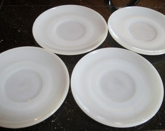 4 Anchor Hocking Saucers Fire King Milk Glass - Item #1052
