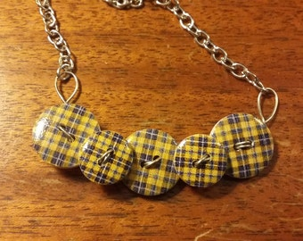 Yellow and Black Tartan Plaid Wooden Button Necklace