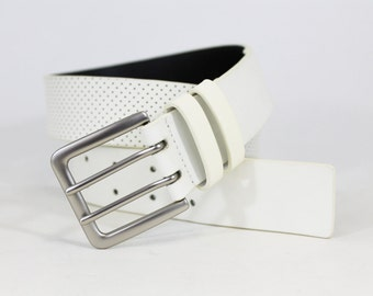 Perforated Jean Belt in Genuine Italian Leather - White