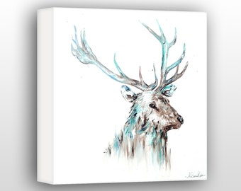 Large Stag Wall Art, 40 x 40 inch Stag Painting, Contemporary Wall Art For The Home, Limited Edition Gallery Wrapped Canvas